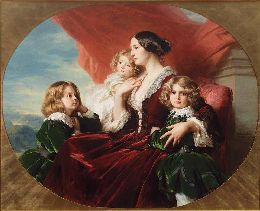 """Franz Xaver Winterhalter, Gräfin Krasińska und ihre Kinder, 1853, Öl auf Leinwand, 131 x 163,5 cm (oval), signiert und datiert unten rechts: """"frWinterhalter/1853"""" (© The National Museum, Warschau, Inv. 185253)"""