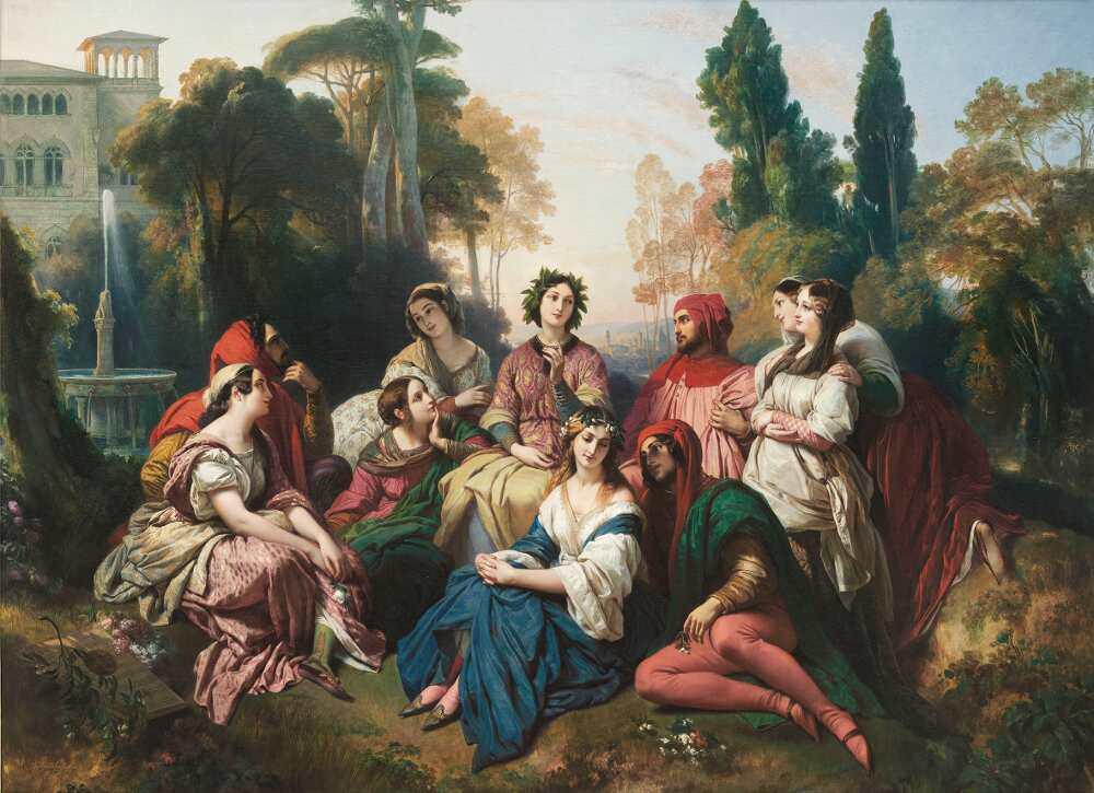 Franz Xaver Winterhalter, Der Decamerone, 1837, Salon von 1837, Öl auf Leinwand, 81,5 x 116 cm (© Karlsruhe, Staatliche Kunsthalle Karlsruhe)