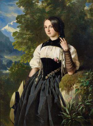 Franz Xaver Winterhalter, Junge Schweizerin aus Interlaken, 1840er Jahre, Öl auf Leinwand, 126 x 93 cm (Privatsammlung)