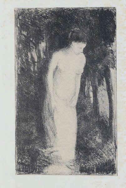 Camille Pissarro, Baigneuse près d'un bois / Badende am Wald, um 1896, Lithografie (Coninx Sammlung, Zürich © Foto: Peter Schälchli, Zürich)