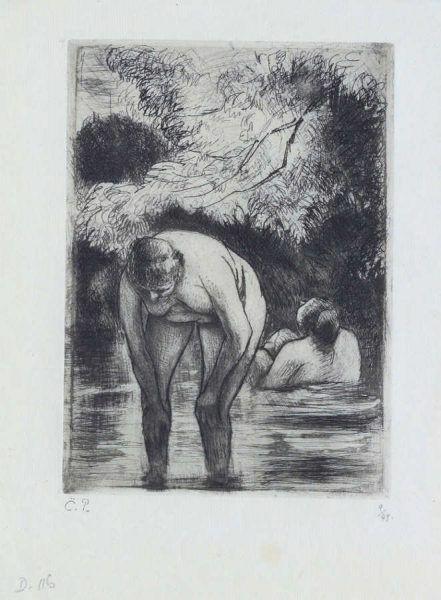 Camille Pissarro, Les deux baigneuses / Zwei Badende, 1895, Radierung (Coninx Sammlung, Zürich © Foto: Peter Schälchli, Zürich)