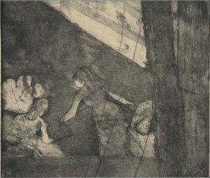 Edgar Degas, Aux Ambassadeurs / Im Ambassadeurs, um 1877/78, Aquatinta, Weichgrundätzung, Radierung und Kaltnadel auf Japan (Coninx Sammlung, Zürich)