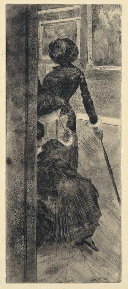 Edgar Degas, Au Louvre: La peinture (Mary Cassatt) / Im Louvre: Die Malerei (Mary Cassatt), um 1879/80, Aquatinta, Radierung, und Kaltnadel (Coninx Sammlung, Zürich)