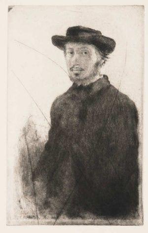 Edgar Degas, E. Degas, par lui-même / Selbstporträt, 1855, Radierung auf Bütten