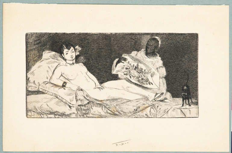 Édouard Manet, Olympia, um 1865/67, Radierung auf Vergé (Coninx Sammlung, Zürich)