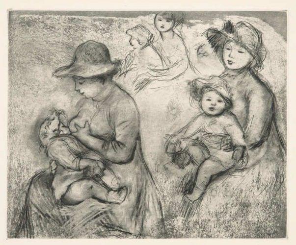 Pierre Auguste Renoir, Trois Esquisses de Maternités / Skizzen zur Mutterschaft, o.J., Radierung, Aquatinta auf Velin (Coninx Sammlung, Zürich © Foto: Ulrich Fischer)