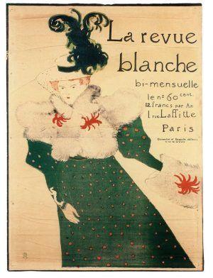 Henri de Toulouse-Lautrec, Plakat La Revue blanche, 1895, Lithografie: olivgrüne Zeichnung und Blau, Rot, Schwarz; Tusche, Kreide, Schaber (Sammlung Coninx, Zürich)