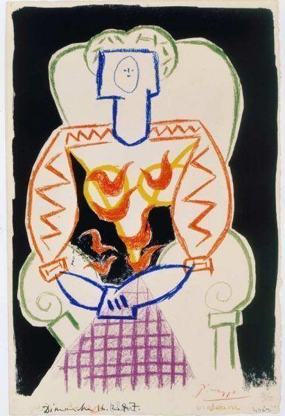 Pablo Picasso, Femme au fauteuil IV (Pismo)/Frau auf dem Stuhl IV (Pismo), 1947, Radierung (Grabstichel) auf Pergament (Sammlung Coninx, Zürich)