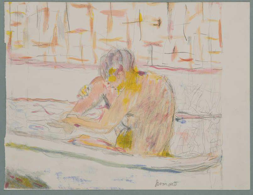 Pierre Bonnard, Femme assise dans son baignoire / Sitzende beim Bad, 1942, Lithografie auf Papier (Sammlung Coninx, Zürich)