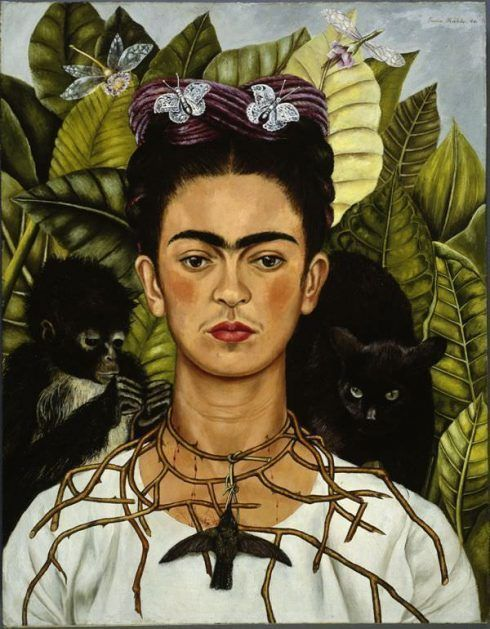 Frida Kahlo, Selbstbildnis mit Dornenhalsband, 1940 (Nickolas Muray Collection, Harry Ransom Humanities Research Center, The University of Texas at Austin) Foto: © Nickolas Muray Collection, Harry Ransom Humanities Research Center, The University of Texas at Austin, Werk: © Banco de México, Diego Rivera & Frida Kahlo Museums Trust, México, D.F./VBK, Wien, 2010.
