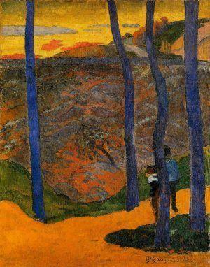 Paul Gauguin, Blaue Bäume [Vous y passerez, la belle!], Ende November 1888, Öl auf Jute, 92 x 73 cm (Ordrupgaard Museum, Kopenhagen)