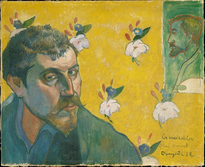 "Paul Gauguin, Selbstporträt mit dem Porträt Bernards (""Les Miserables""), Ende September 1888, Öl auf Leinwand (Van Gogh Museum, Amsterdam (Vincent van Gogh Stiftung))"