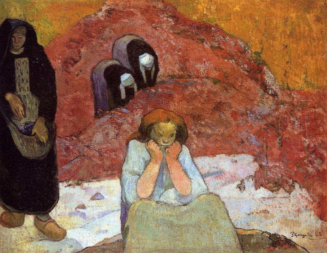 Paul Gauguin, Das menschliche Leiden (Die Weinlese oder Die Armut), 4.–11. November 1888, Öl auf Jute, 73 x 93 cm (Ordrupgaard, Kopenhagen)