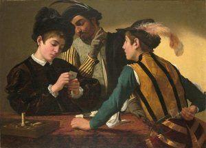Caravaggio, Die Falschspieler, um 1595, Öl auf Leinwand, 94,2 x 130,9 cm (Kimbell Art Museum, Fort Worth, INv.-Nr. AP 1987.06)