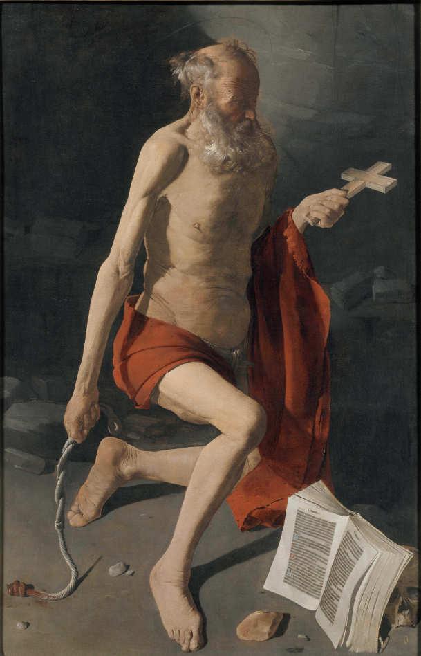 Georges de La Tour, Büßender hl. Hieronymus, Öl auf Leinwand, 157 x 100 cm (Musée de Grenoble. Saisie de l'Etat Inventorié en 1797, Grenoble)