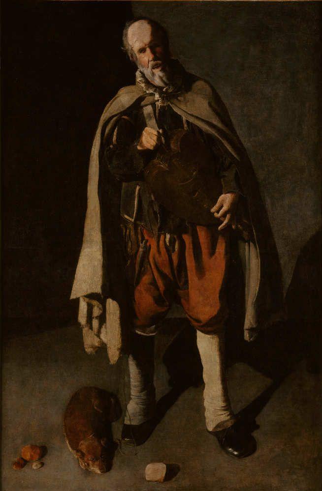 Georges de La Tour, Der Drehleier Spieler mit einem Hund, Öl auf Leinwand, 186 x 120 cm (Musée du Mont-de-piète-Ville de Bergues, Brügge)