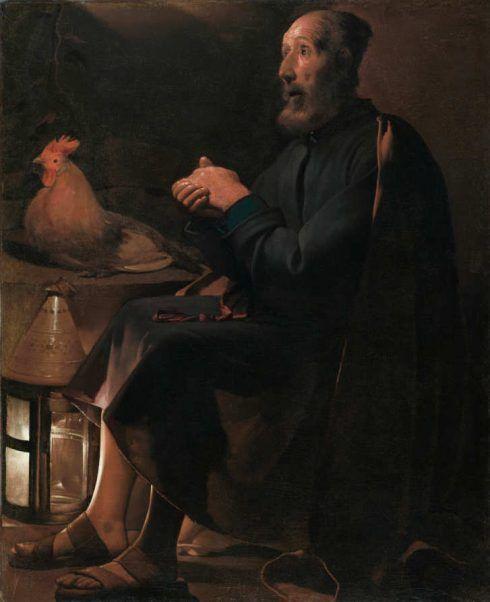 Georges de La Tour, Der reumütige hl. Petrus, signiert und datiert 1645, Öl auf Leinwand, 114 x 95 cm (The Cleveland Museum of Art, Gift of the Hana Fund, 1951, Cleveland, Inv.-Nr. 51.454)