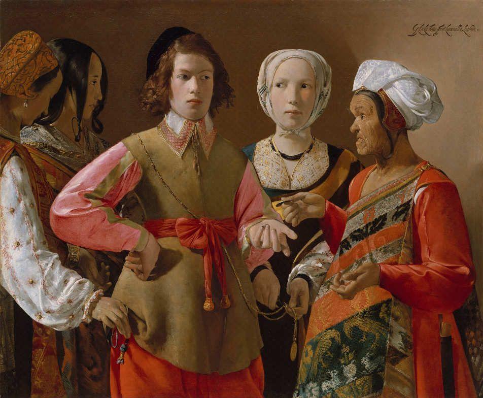 Georges de La Tour, Die Wahrsagerin, Öl auf Leinwand, 102 x 123 cm (The Metropolitan Museum of Art, Rogers Fund, 1960 (60.30), New York)