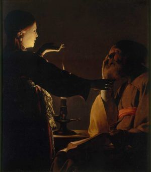 Georges de La Tour, Der Traum des hl. Joseph / Der Engel erscheint dem hl. Joseph im Traum, signiert, Öl auf Leinwand, 93 x 81 cm (Musée des Beaux-Arts de Nantes, Nantes)