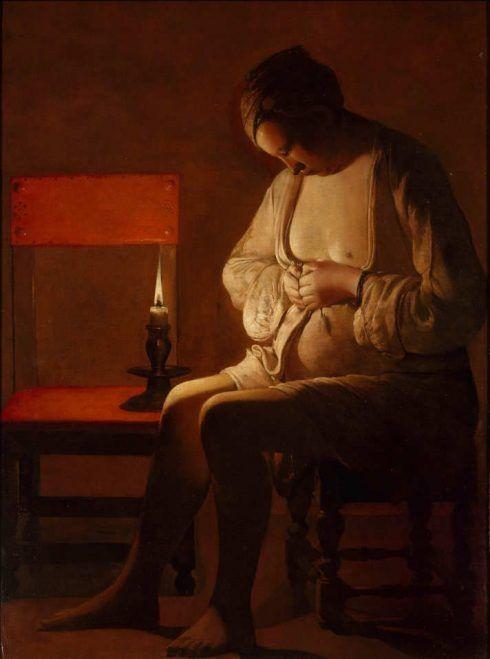 Georges de La Tour, Flöhe suchende Frau, Öl auf Leinwand, 121 x 89 cm (Collection Palais des ducs de Lorraine – Musée Lorrain, Nancy, Inv.-Nr. 55.4.3)
