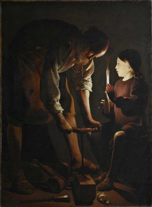 Georges de La Tour, Hl. Joseph als Zimmermann, Öl auf Leinwand, 137 x 102 cm (Musée du Louvre, Département des Peintures. Donation Percy Moore Turner, 1948, Paris, Inv.-Nr. 1948-27)