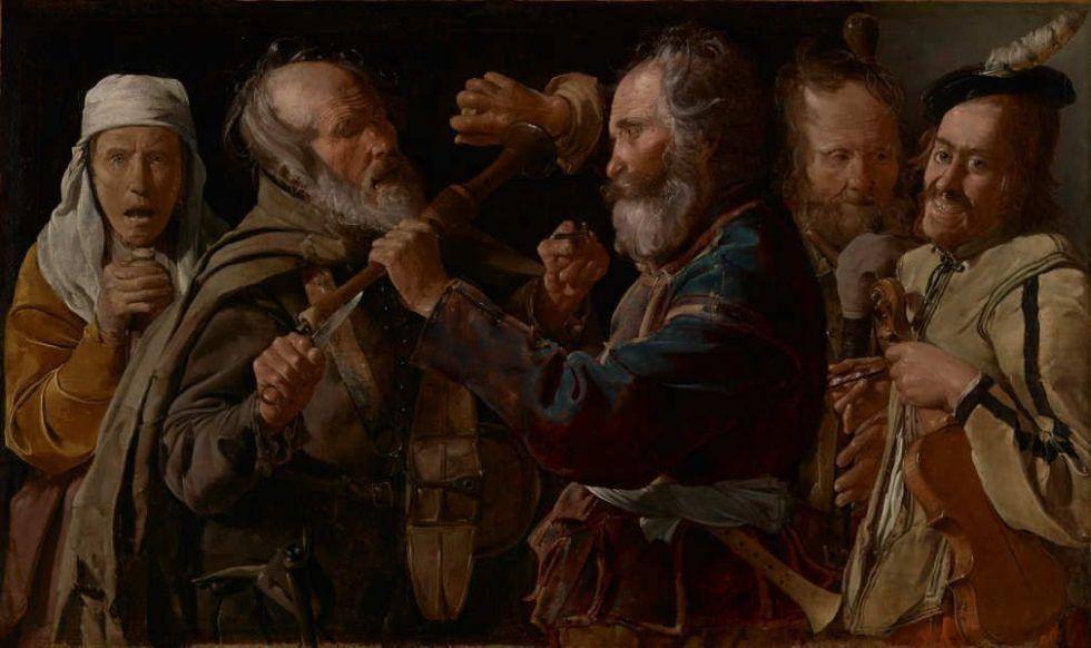 Georges de La Tour, Prügelei der Musiker, Öl auf Leinwand, 85,7 141 cm (Los Angeles, The J. Paul Getty Museum, Inv.-Nr.72.PA.28)