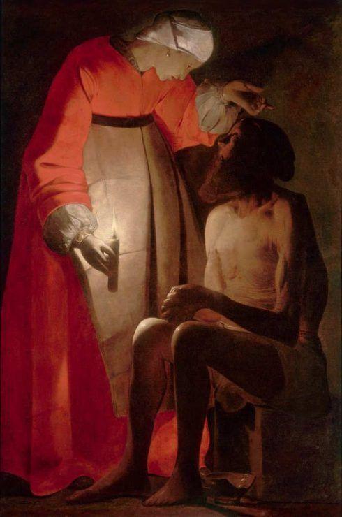 Georges de La Tour, Hiob und seine Frau, Öl auf Leinwand, 145 x 97 cm (Musée départemental d'art ancien et contemporain, Épinal)