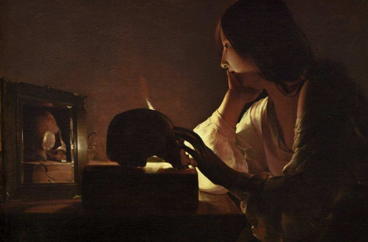 Georges de La Tour, Die reumütige Maria Magdalena, Detail, Öl auf Leinwand, 113 x 92.7 cm (National Gallery of Art, Washington. Alisa Mellon Bruce Fund, Washington D. C.)