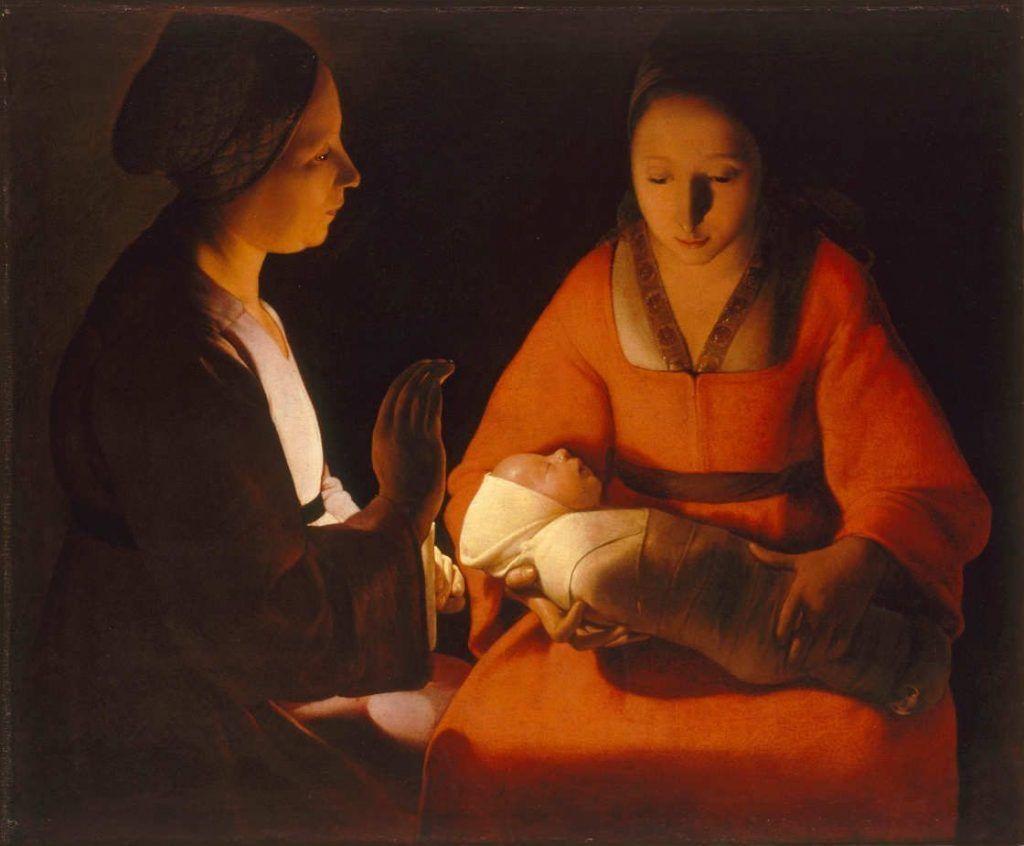Georges de La Tour, Das Neugeborene, Öl auf Leinwand, 76 x 91 cm (Musée des Beaux-Arts de Rennes, Rennes, Inv.-Nr. 794.2.6)