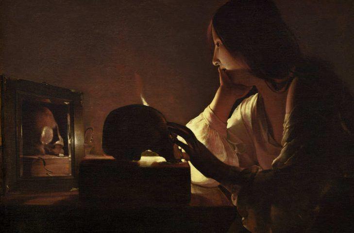 Georges de La Tour, Die reumütige Maria Magdalena, Detail, Öl auf Leinwand, 113 x 92.7 cm (National Gallery of Art, Washington. Alisa Mellon Bruce Fund, Washington D. C.)