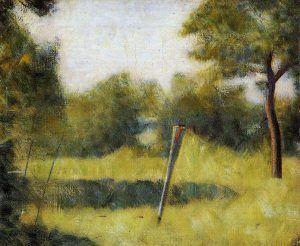 Georges Seurat, Landschaft mit Stecken, 1881/82, Öl auf Leinwand, 38 x 46,1 cm (Kunstmuseums, Basel, Dr. h.c. Émile Dreyfus-Stiftung)