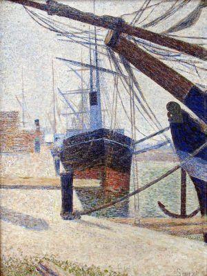 Georges Seurat, Ecke eines Hafens, Honfleur, 1886, Öl auf Leinwand (Kröller-Müller Museum, Otterlo)