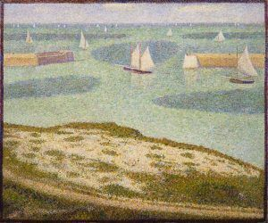 Georges Seurat, Einfahrt des Fischereihafens, Port-en-Bessin, 1888, Öl auf Leinwand, 54,9 x 65,1 cm (The Museum of Modern Art, New York, Lillie P. Bliss Collection, Inv.-Nr. 126.1934)