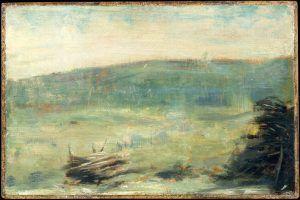 Georges Seurat, Landschaft bei Saint-Ouen, 1878 oder 1879, Öl auf Holz, 16.8 x 25.4 cm (Metropolitan Museum of Art, New York, Gift of Bernice Richard, 1980, Inv.-Nr. 1980.342)