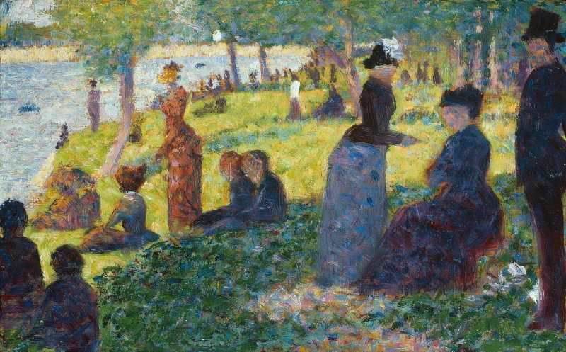 Georges Seurat, Ölskizze für Un dimarche à la Île de la Grande Jatte (Ein Sonntagnachmittag auf der Île de la Grande Jatte), 1884, Öl auf Leinwand, 15.5 x 24.3 cm (The Art Institute of Chicago, Gift of Mary and Leigh Block, 1981.15)