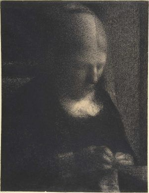 Georges Seurat, Sticken: Porträt der Mutter, 1882/83, Conté Kreide auf Michallet Papier, 31.2 x 24.1 cm (Metropolitan Museum of Art, New York, Purchase, Joseph Pulitzer Bequest, 1951; acquired from The Museum of Modern Art, Lillie P. Bliss Collection, 1958, Inv.-Nr. 55.21.1)