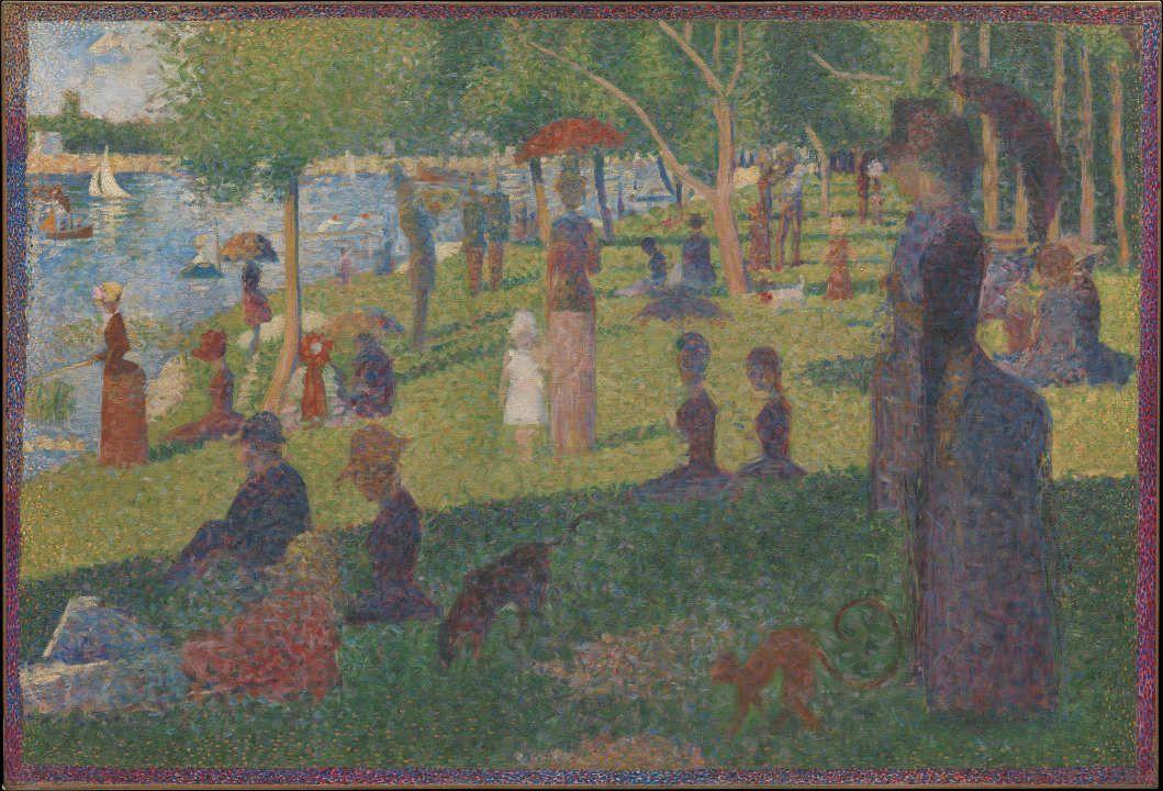 Georges Seurat, Studie für Un dimarche à la Île de la Grande Jatte (Ein Sonntagnachmittag auf der Île de la Grande Jatte), 1884, Öl auf Leinwand, 70.5 x 104.1 cm (Metropolitan Museum of Art, New York, Bequest of Sam A. Lewisohn, 1951, Inv.-Nr. 51.112.6)