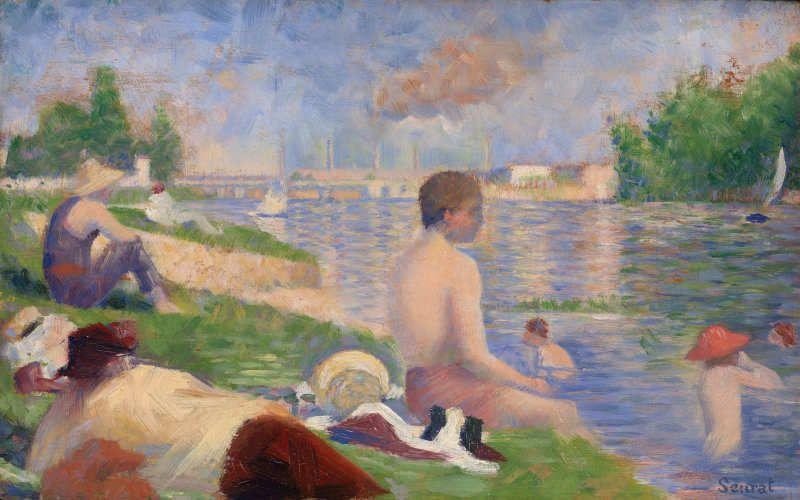 Georges Seurat, Finale Studie zu Die Badenden, 1883, Öl auf Holz, 16,5 x 24,8 cm (The Art Institute Chicago)