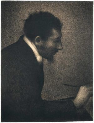 Georges Seurat, Portrait von Edmond François Aman-Jean, 1882/83, Conté Kreide auf Michallet Papier, 62.2 × 47.5 cm (Metropolitan Museum of Art, New York, Bequest of Stephen C. Clark, 1960, Inv.-Nr. 61.101.16)