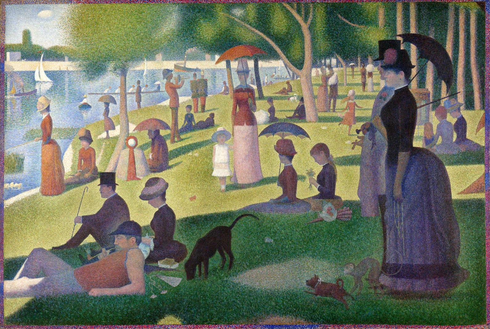 Georges Seurat, Un dimarche à la Île de la Grande Jatte (Ein Sonntagnachmittag auf der Île de la Grande Jatte), 1884–1886, Öl auf Leinwand, 205,7 x 305,8 cm (The Art Institute of Chicago, Helen Birch Bartlett Collection)