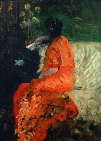 Giuseppe de Nittis, Le Kimono couleur orange© Fotostudio Rapuzzi, Brescia.