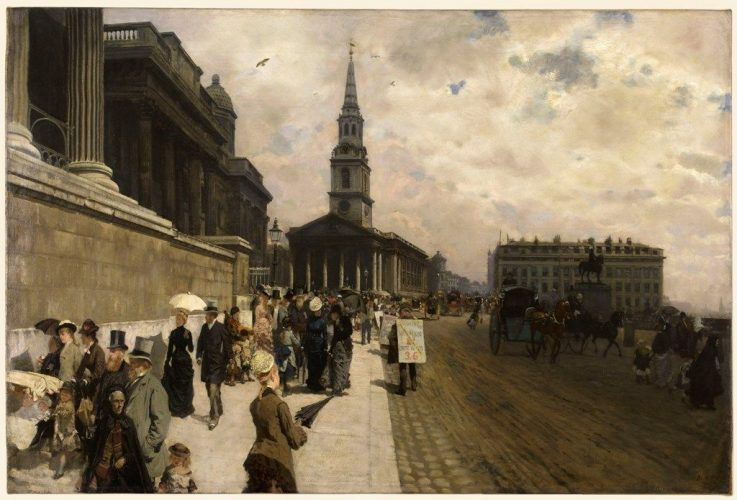 Giuseppe de Nittis, La National Gallery à Londres © Petit Palais/Roger Viollet.