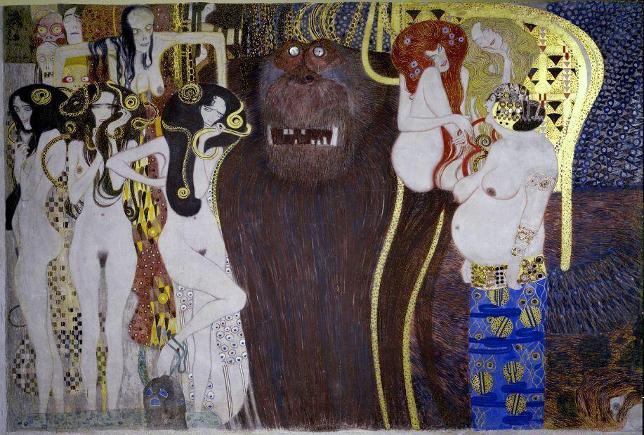 Gustav Klimt, Beethovenfries: Die bösen Mächte, 1901-1902, Gesamtmaße 2,15 m x 34,14 m, Mischtechnik, Belvedere, Wien / Leihgabe in der Secession, Wien © BDA.