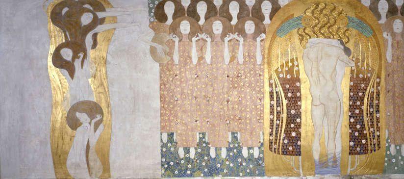 Gustav Klimt, Beethovenfries: Die Künste führen in ein ideales Reich hinüber & Diesen Kuss der ganzen Welt, 1901-1902, Gesamtmaße 2,15 m x 34,14 m, Mischtechnik, Belvedere, Wien / Leihgabe in der Secession, Wien © BDA.