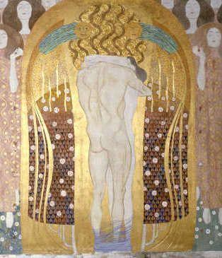 Gustav Klimt, Beethovenfries: Diesen Kuss der ganzen Welt, 1901-1902, Gesamtmaße 2,15 m x 34,14 m, Mischtechnik, Belvedere, Wien / Leihgabe in der Secession, Wien © BDA.