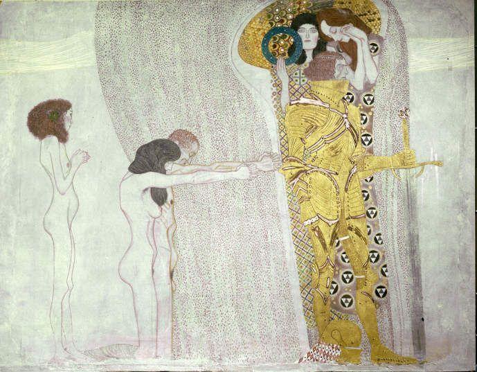 Gustav Klimt, Beethovenfries: Ritter, 1901-1902, Gesamtmaße 2,15 m x 34,14 m, Mischtechnik, Belvedere, Wien / Leihgabe in der Secession, Wien © BDA.
