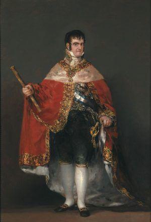 Francisco de Goya, Ferdinand VII im Hofkostüm, 1814-1815, Öl auf Leinwand, 208 x 142.5 cm (Museo Nacional del Prado. Madrid).