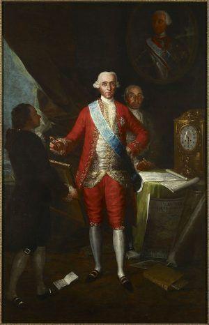 Francisco de Goya, Der Graf von Floridablanca, 1783, Öl auf Leinwand, 260 x 166 cm (Colección Banco de España, P-324 © Colección Banco de España).