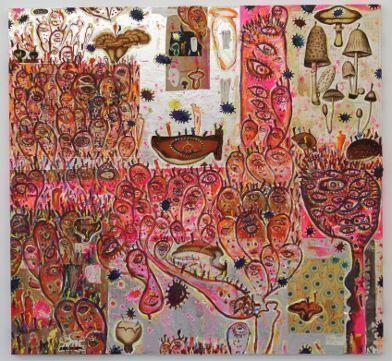 Gunter Damisch, Helles Köpflerpilzcollagenfeld, 2014, Öl auf Leinwand und Collage, 150 x 160 cm, Foto: Alexandra Matzner.