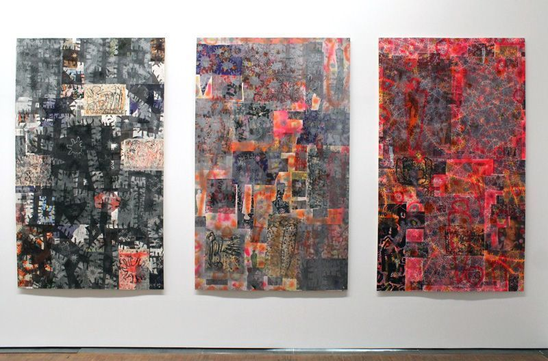 """Gunter Damisch, Installationsansicht (2013) von Gunter Damischs Druckcollagen """"MACRO. MICRO"""", Albertina 2013, Foto: Alexandra Matzner."""